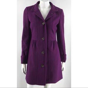 J Crew Purple Lined Wool Button Down Winter Coat